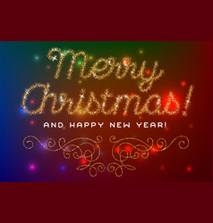 merry christmas lettering gold glitter font vector image