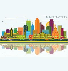 Minneapolis minnesota usa city skyline with color vector