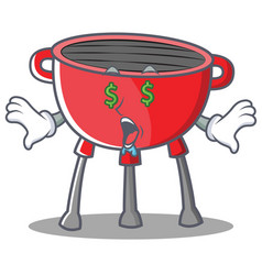Money eye barbecue grill cartoon character vector