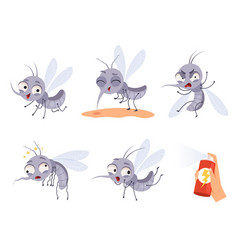 mosquito cartoon warning flying insects dangerous vector image