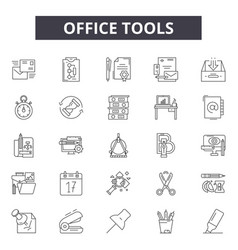 office tools line icons signs set vector image