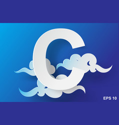 Paper art of character c cloudblue sky vector