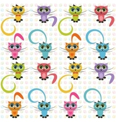 Pattern with color cats vector image