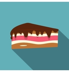 Piece of cake with chocolate cream icon flat style vector image