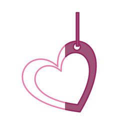 Pink color silhouette double love heart figure vector