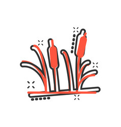 reeds grass icon in comic style bulrush swamp vector image