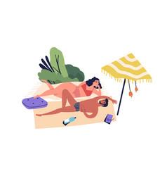 relaxing people romantic couple sunbathing vector image
