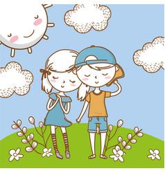 Romantic love couple cute background vector