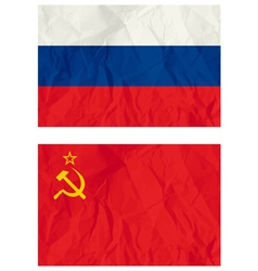 Russian flag and old USSR flag vector