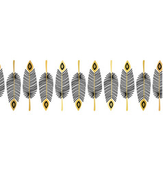 seamless border feathers black gold vector image