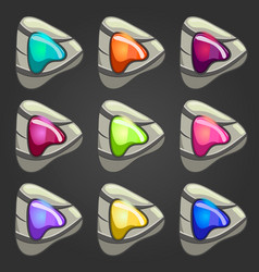 set of stone pointers with inlaid gems vector image