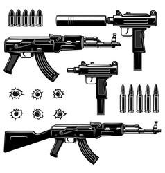 Set weaponuzi submachine gun ak-47 design vector