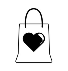 shopping bag love heart romantic gift linear style vector image