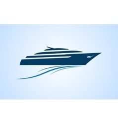 Simply and clear logo yacht at the sea vector