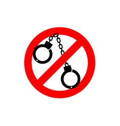 Stop police handcuffs prohibited sign ban cop vector
