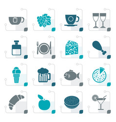 Stylized food drink and beverage icons vector