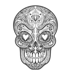 sugar skull tattoo vector image