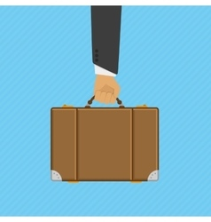 Suitcase in hand vector image