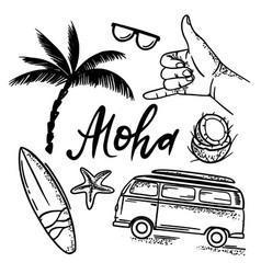 surf aloha sea travel hand drawn set vector image