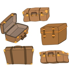 The complete set of old suitcases vector
