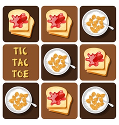 Tic-tac-toe cereal and bread vector