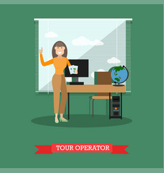 Tour operator in flat style vector