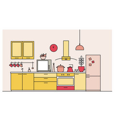 trendy interior of kitchen full of modern vector image