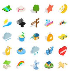 Tropical rain icons set isometric style vector