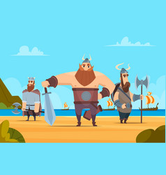 Viking warriors background medieval authentic vector