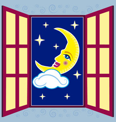window with moon vector image