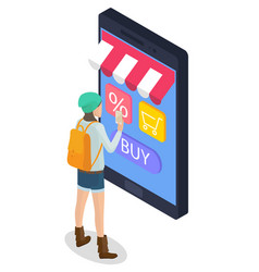woman use phone and internet for online shopping vector image