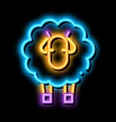 Woolly sheep lamb animal neon glow icon vector