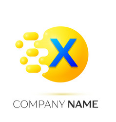 X letter splash yellow dots and circle bubble vector