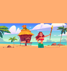 young woman holding torch on beach with hut party vector image
