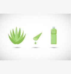 aloe vera gel and drink flat icons set vector image vector image
