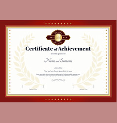 certificate of achievement template red border vector image