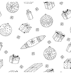 Christmas gifts seamless pattern in doodle style vector image vector image