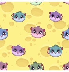 Fanny seamless pattern with little cartoon mice vector image