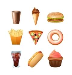 Fast food menu flat icons set vector image vector image