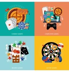 Gambling games 4 flat icons square vector image vector image