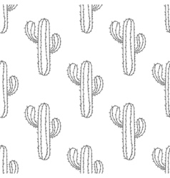 Mexican cactus seamless pattern hand drawn desert vector