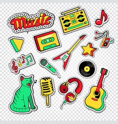musical doodle with music instruments vector image vector image