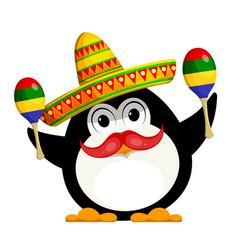penguin with a maracas and a sombrero cartoon vector image vector image