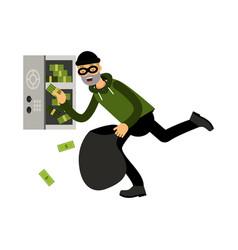 professional masked burglar character stealing vector image
