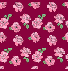 seamless pink rose pattern flower background vector image vector image