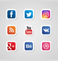 social media icons set stickers vector image