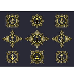 anchors set luxury vector image