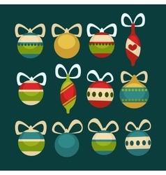 Christmas balls decoration Cartoon style vector image