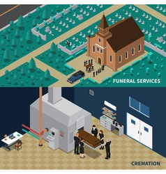 Funeral Services Isometric Banners vector image vector image