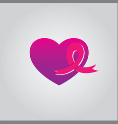 Love ribbon cancer vector